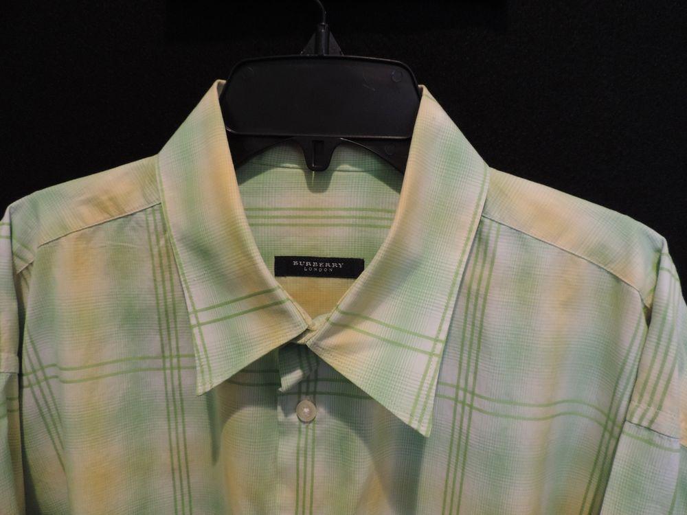 Burberry London Authentic Green Plaid 100% Cotton Casual Shirt SZ L Mint  #Burberry #ButtonFront