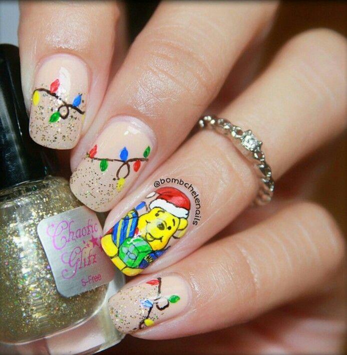 winnie the pooh christmas lights nail art