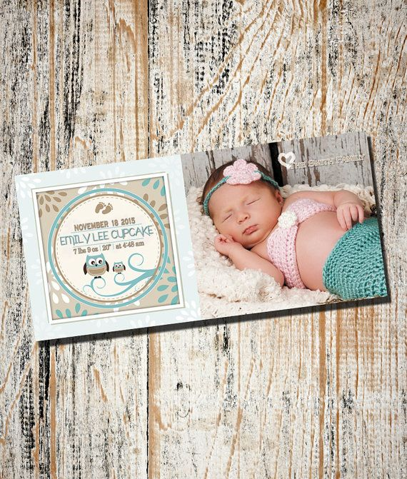 Birth Announcement /Custom Photo Birth by partyprinters on Etsy