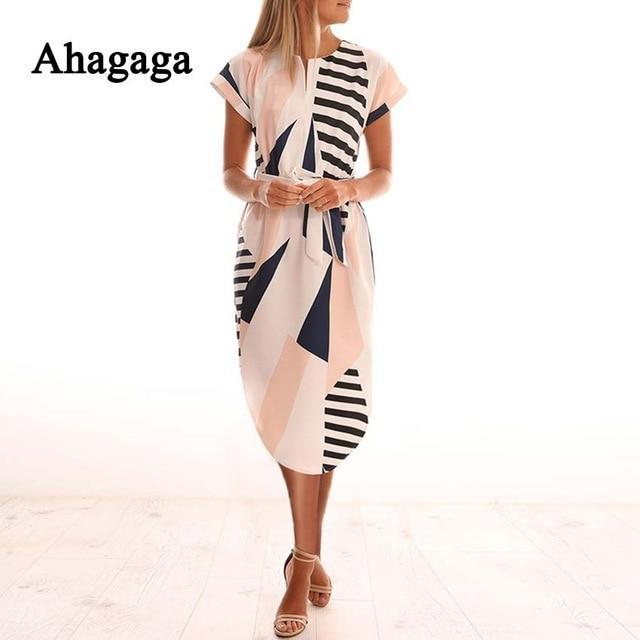 8fe9b8a6324d2 Ahagaga 2019 Spring Dress Women Fashion Print Elegant Cute Sashes O ...