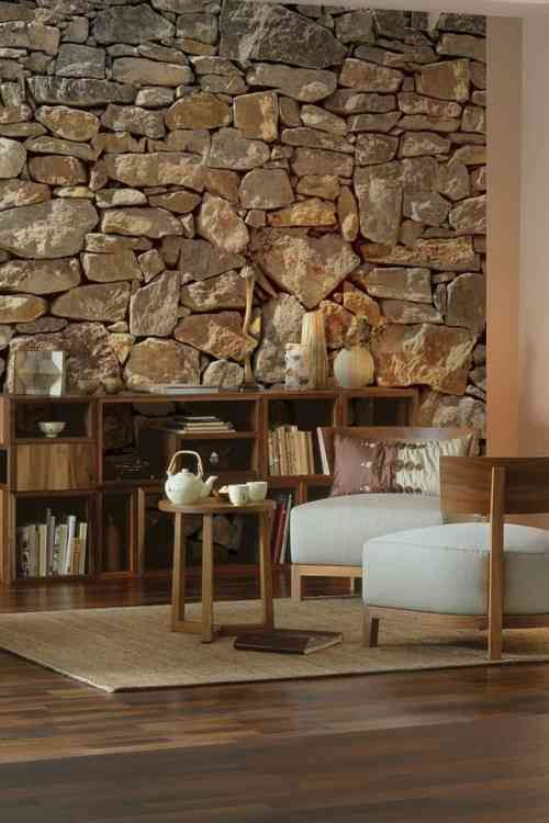 45 Idees De Deco Murale En Papiers Peints Photos Incroyables Stone Walls Interior Stone Accent Walls Stone Wallpaper