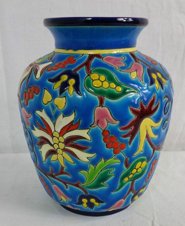 Vase Pot Emaux De Longwy Art Bleu Decore A La Main France Ancien
