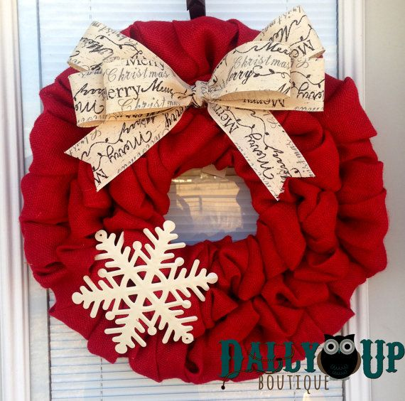 Christmas Burlap Wreath - Winter Wreath, Red with Merry Christmas