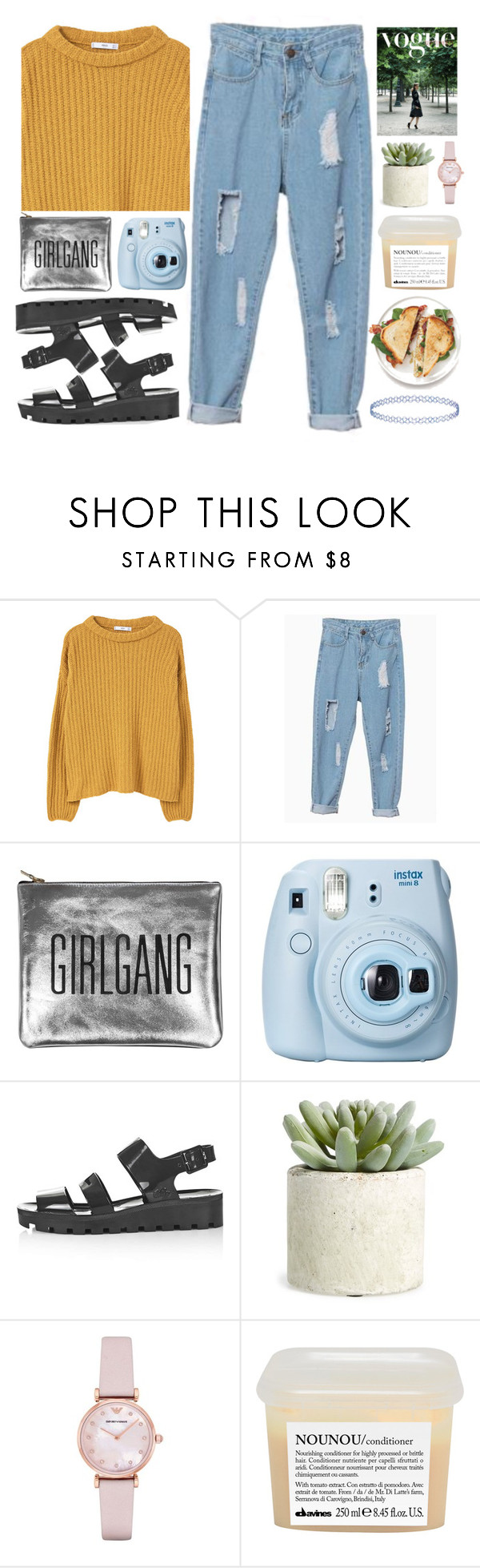 """#496 Egress"" by mia5056 ❤ liked on Polyvore featuring MANGO, Sarah Baily, Fujifilm, Topshop, Allstate Floral, Emporio Armani and Davines"