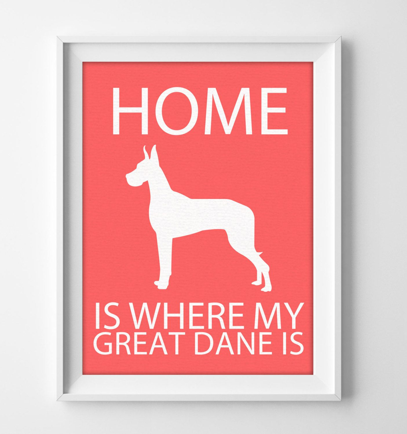 8x10 Great Dane Wall Art Ilrated Dog Decor