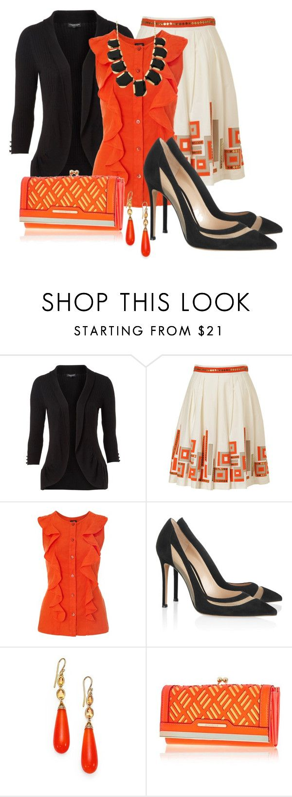 """Black & Orange"" by justbeccuz ❤ liked on Polyvore featuring Petite Collection, Milly, Armani Jeans, Gianvito Rossi, MIJA, River Island and Kate Spade"