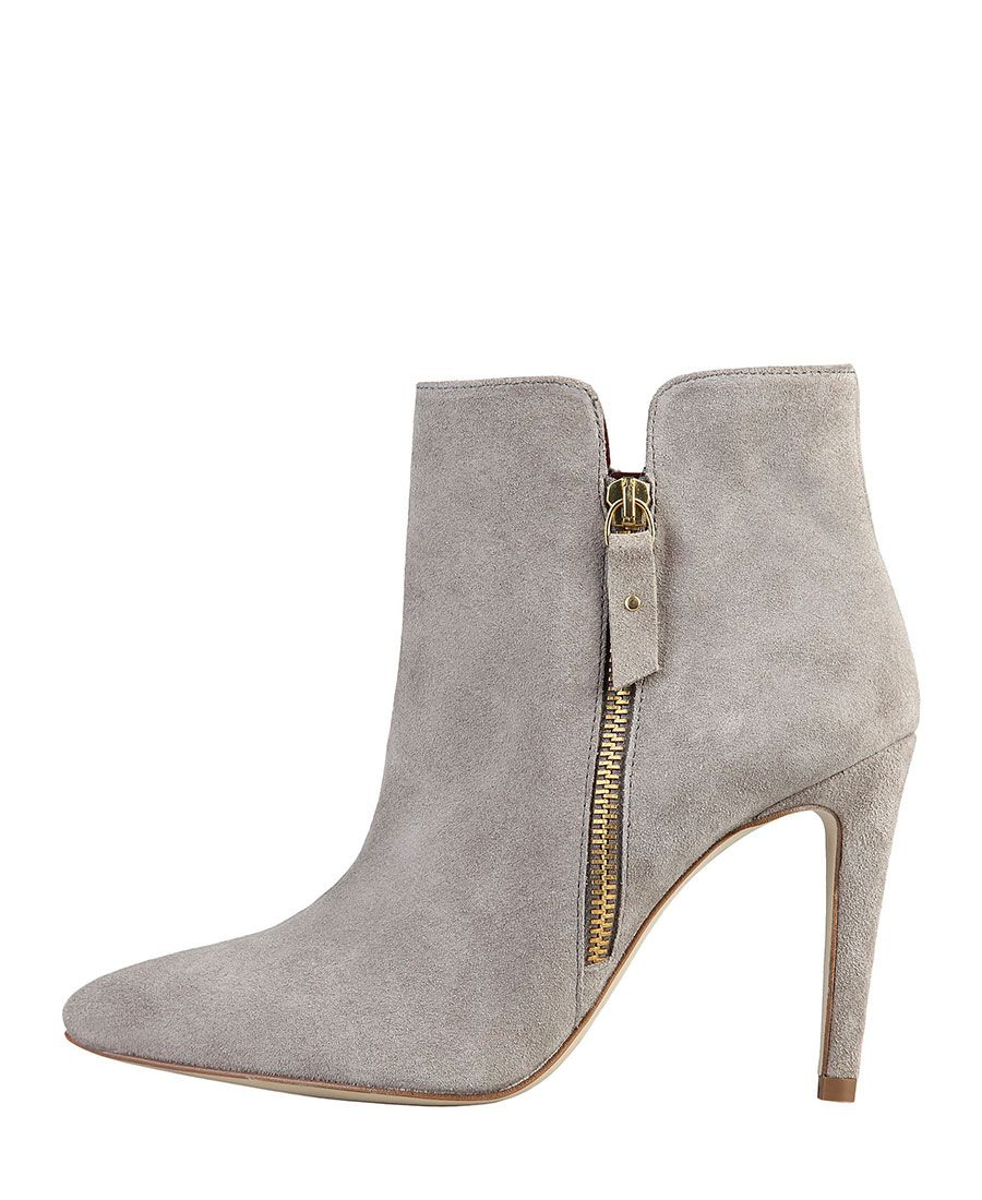 Women's shoes - 100% genuine leather uppers, suede - ankle boots with zip…