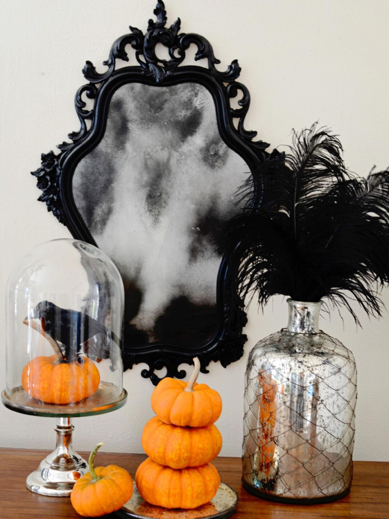 How to Make a Ghostly Antiqued Mirror Halloween decorating ideas - How To Make Halloween Decorations