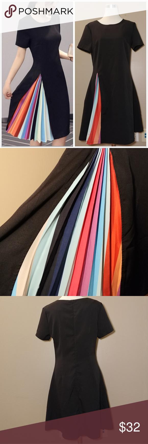 Nwt Black Dress With Hidden Rainbow Pleat Edgy Dress Sleeve Designs Black Dress [ 1740 x 580 Pixel ]
