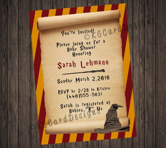 Harry Potter Scroll Baby Shower Invitation Harry potter and Harry