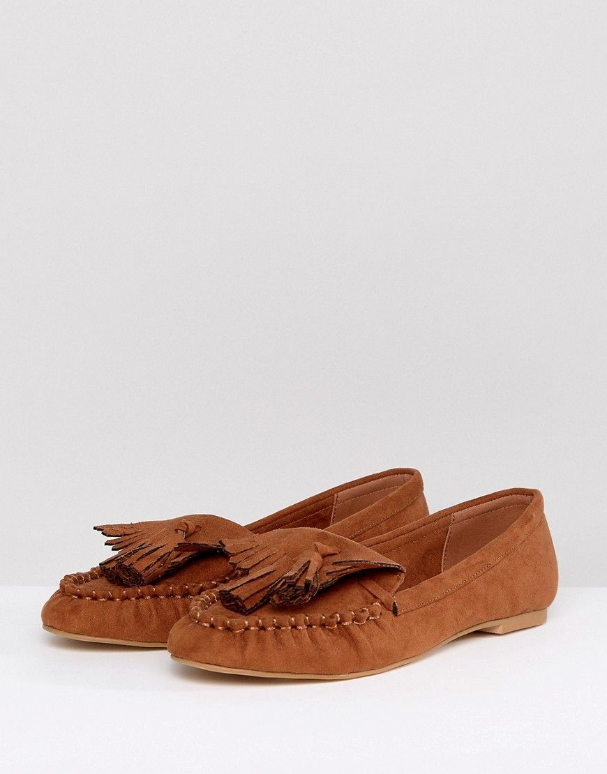 ASOS MACOY Tassel Loafer Flat Shoes - Tan