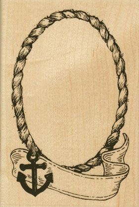 oval rope frame rubber stamp