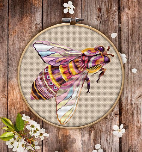 Mandala Bee # P310 motif de broderie au point de croix téléchargement immédiat | Couture | Kits de point d'aiguille | Motifs de broderie | Cross Designs   – вышивка