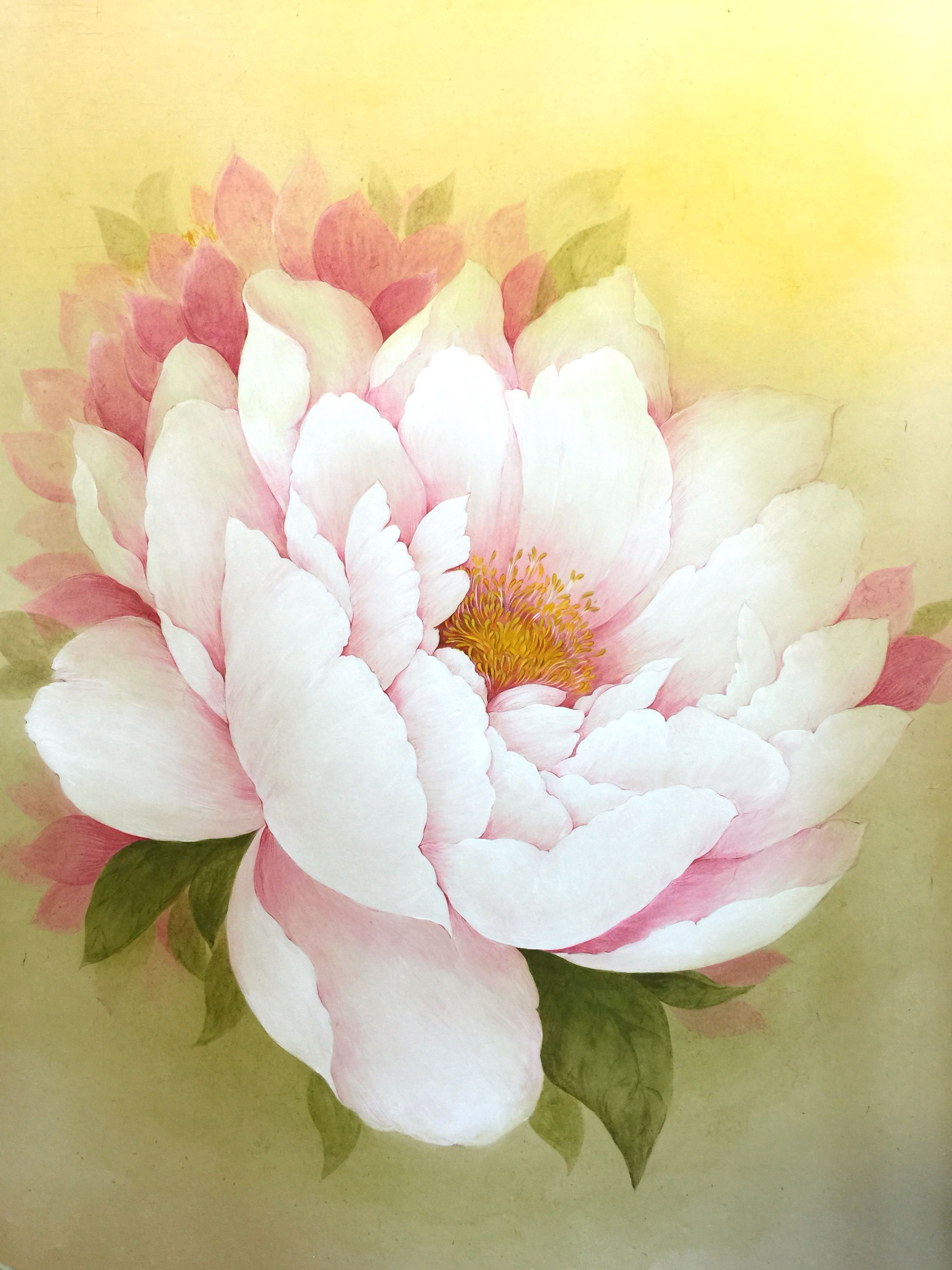Oriental Painting White Peony Big Flower Painting Chin Art