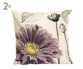 Set de 2 cojines de algodón Flor, lila – 45x45 cm