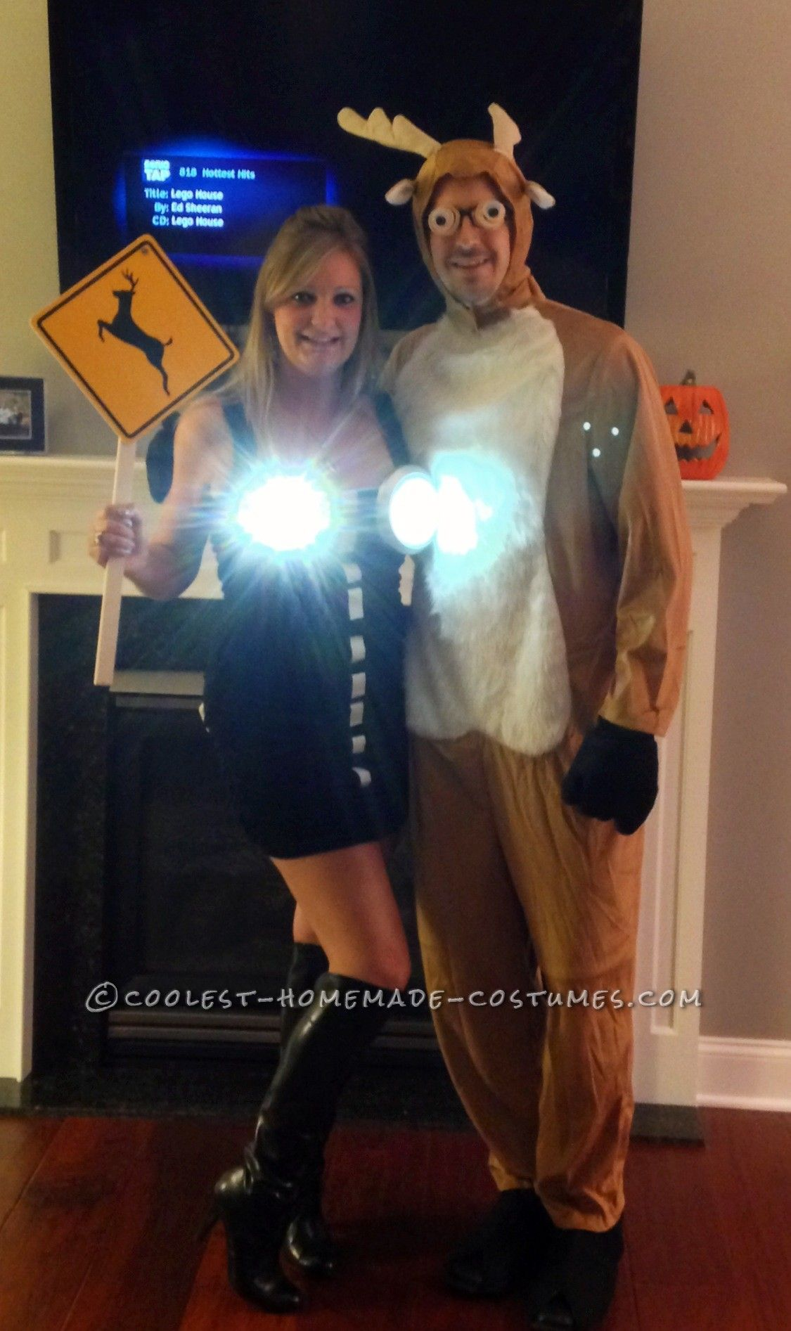Cool Homemade Couple Costume Idea Deer in Headlights  sc 1 st  Pinterest & Cool Homemade Couple Costume Idea: Deer in Headlights | Homemade ...