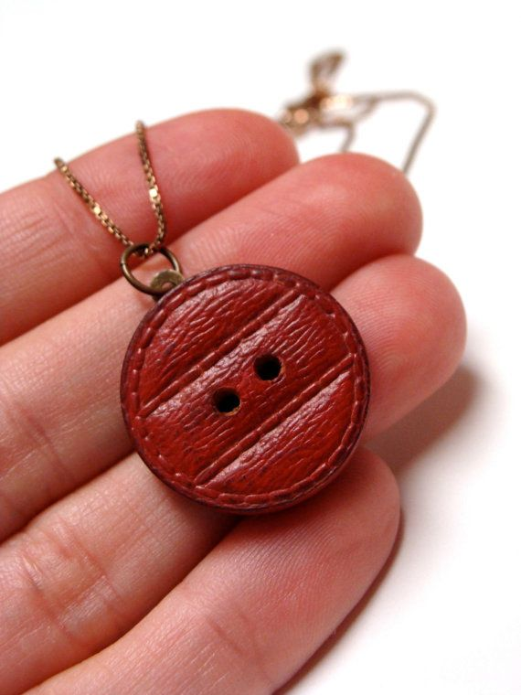 "Painted Wood Pendant ""Beyond the Red Door"" by ChatterBlossom via Etsy"