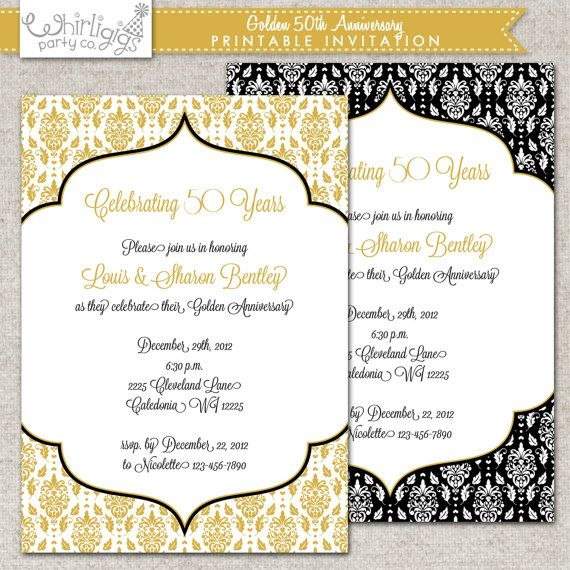 Golden Wedding Anniversary Invitations Wording: 50th Anniversary Invitation- Golden Anniversary Invitation