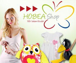 """HOBEA-Shop Banner """"Wir lieben Kinder""""  Baby- und Kinderausstattung von HOBEA-Germany: Stillzubehör, Stilltops, Kindergeschenke, Eulen Rucksack, Taufbekleidung, Holzspielzeug uvm."""