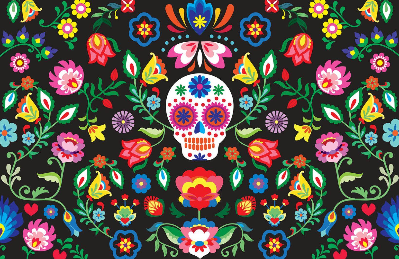 Sugar Skull Floral Wall Mural En 2019
