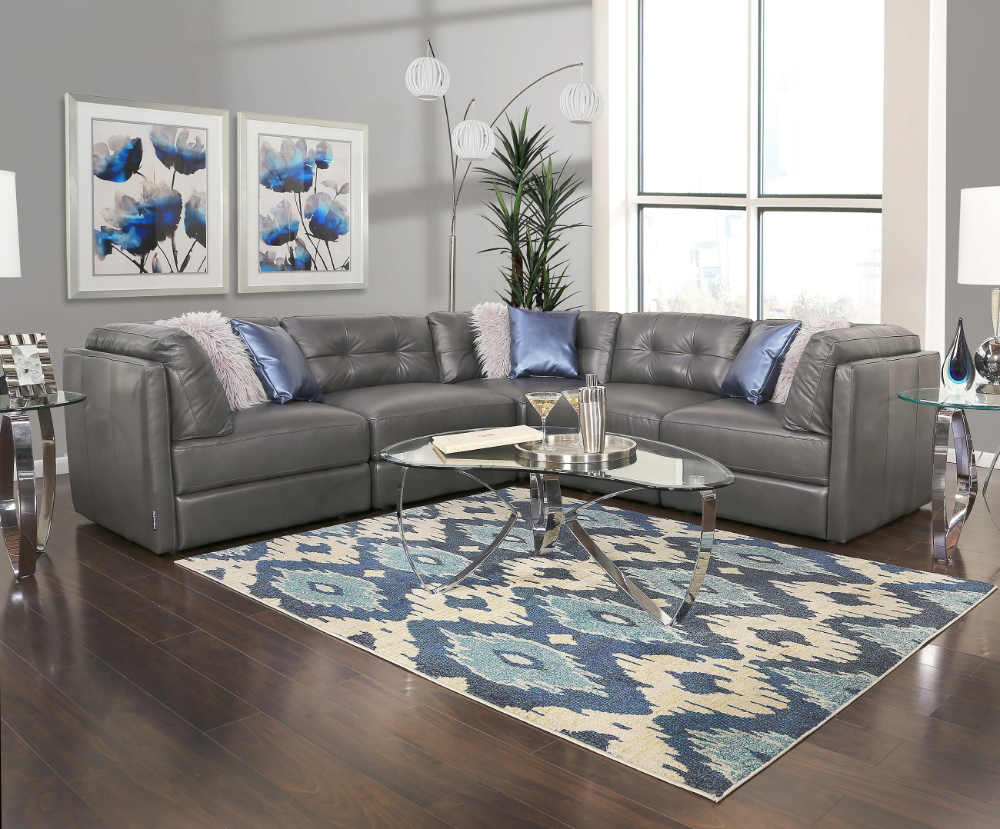 Oakley Grey 5 Piece Leather Sectional Sofa Kane S Furniture Grey Leather Sofa Living Room Leather Sectional Living Room Leather Couches Living Room