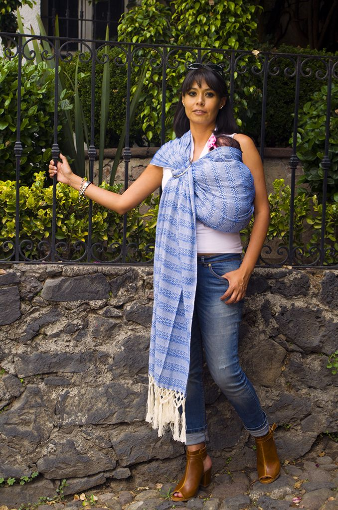 Electric Blue Mexican Rebozo Used With A Pair Of Rings Baby