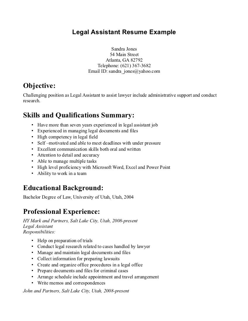 Legal Assistant Resume Example Resumesdesign Resume Examples Professional Resume Examples Basic Resume Examples