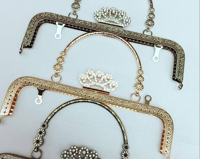 8 inch(20.5cm)clutch frame sewing metal crown purse frame with ...