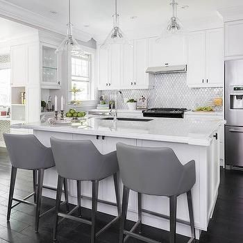 Sensational White Island With Gray Leather Bar Stools In 2019 White Machost Co Dining Chair Design Ideas Machostcouk
