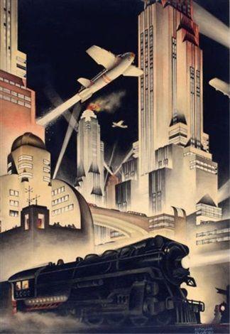 Art Deco cityscape by BernardMcMahon