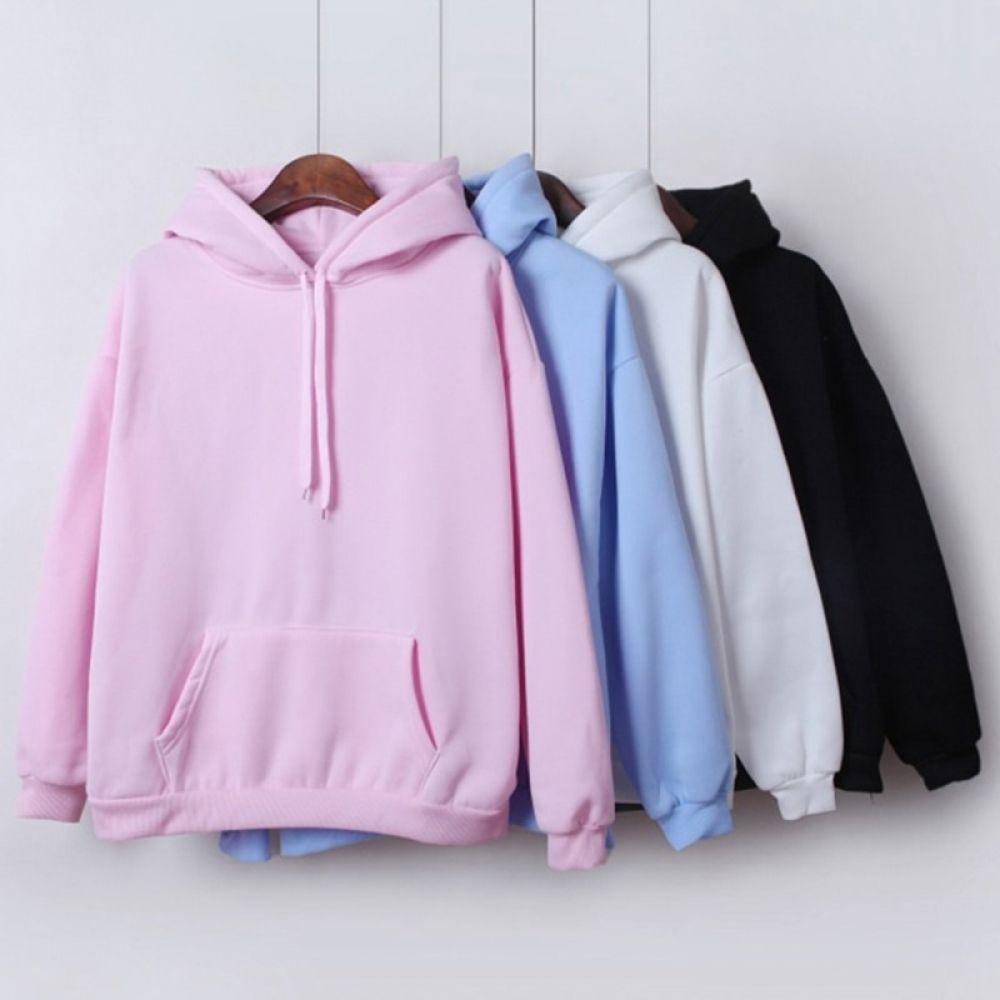 BYWX Women Pocket Solid Color Loose Fall /& Winter Thicken Pullover Hoodie Sweatshirt Top