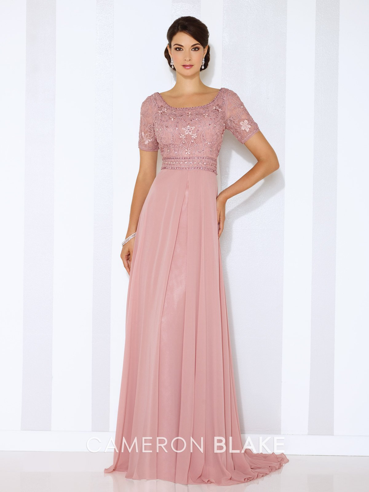 Short sleeve chiffon aline gown ribbon work short sleeves and gowns