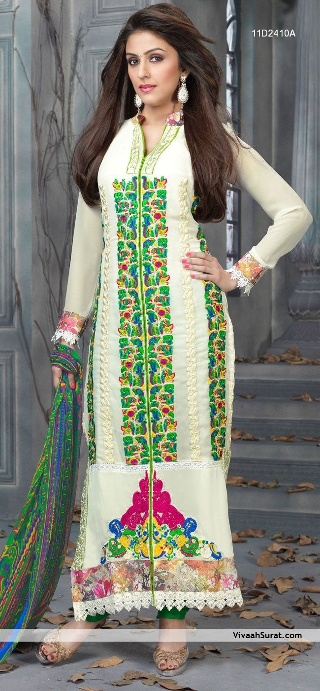 8d2b3b83e3 Off White And Green Pakistani Style Pure Georgette Salwar Suit, Item Code:  11D2410A, Price: Rs3,999,