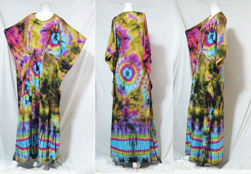 vtg HIPPIE BOHO thai handmade full rainbow tie dye kimono kaftan maxi dress 275