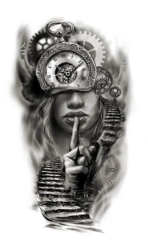 Clock face half sleeve custom tattoo design idea by Tattoo ...