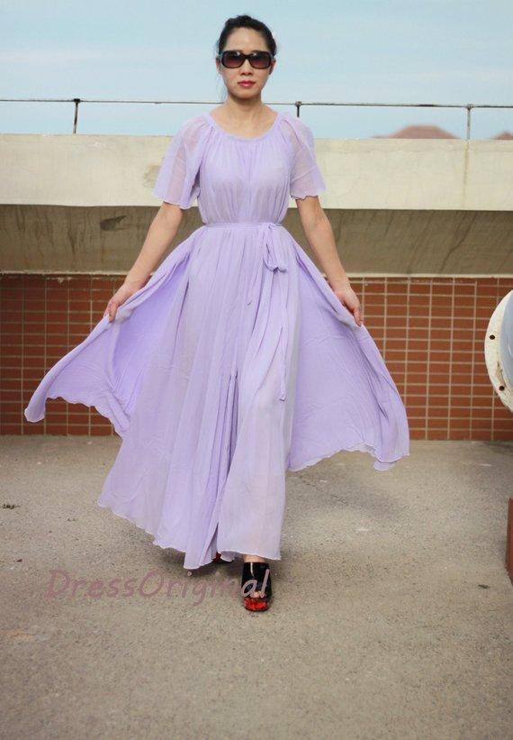 72bacdf9f05 Lavender chiffon maxi dress