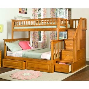 Columbia Staircase Bunk Bed w/ Raised Panel Drawers - Twin Over Full images