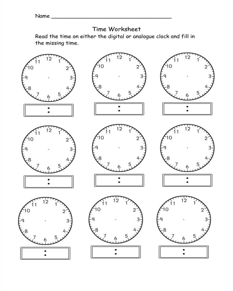 Printable Kindergarten Math Worksheets Clock di 2020