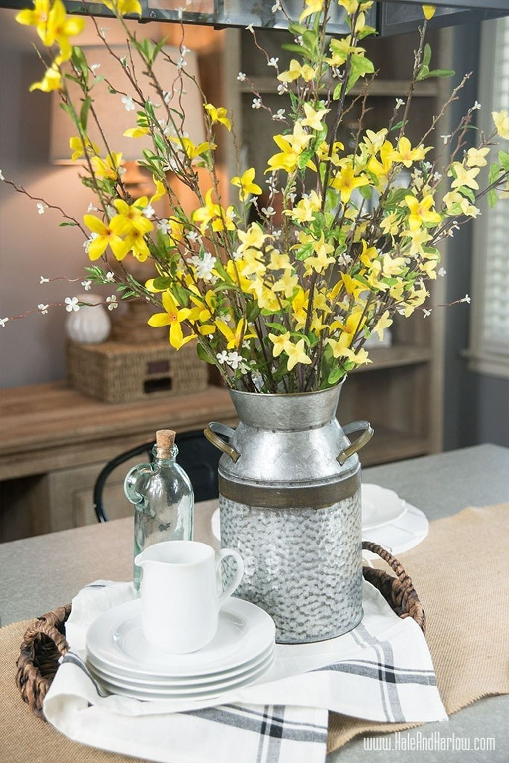 44 Catchy Spring Centerpiece Ideas To Celebrate The Season Dining Room Table Centerpieces Spring Table Decor Dining Table Decor Centerpiece