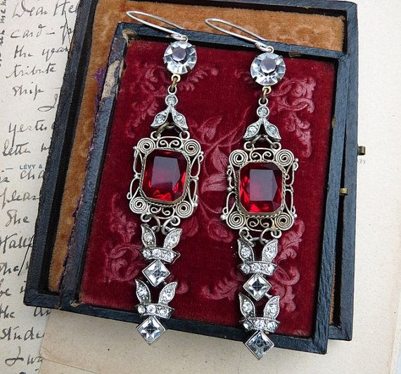 SALE:  Antique Assemblage Gothic Ruby Glass Earrings, Marie Antoinette Baubles, by RusticGypsyCreations on Etsy, $140.25