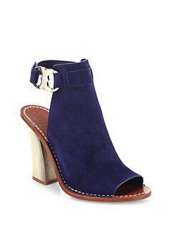 3fd2de89b3e Tory Burch - Gemini Link Suede Peep-Toe Block-Heel Sandals