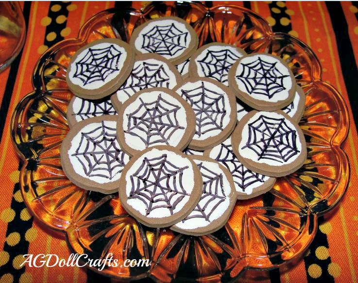 make some halloween ag doll food these spiderweb cookies are made from craft foam and are a fun and easy craft for kids to make on their own