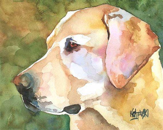 Labrador Retriever Art Print Signed Artist Ron Krajewski Painting 8x10 Yellow
