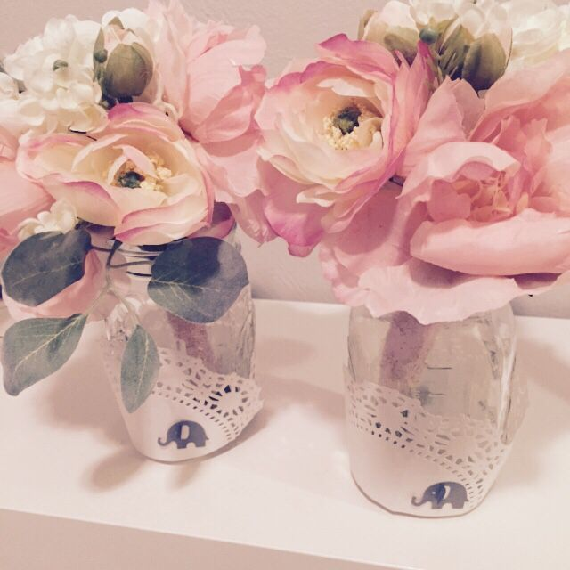 Diy Baby Shower Flower Centerpieces In Mason Jars. Elephant Themed For Our Baby Girl.