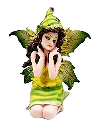 "Custom & Unique {2"" x 3"" Inch} 1 Single Small, Home & Garden ""Standing"" Figurine Decoration Made of Grade A Resin w/Jade Snow Pea Garden Fae Fairy Style {Black, White, & Green}"