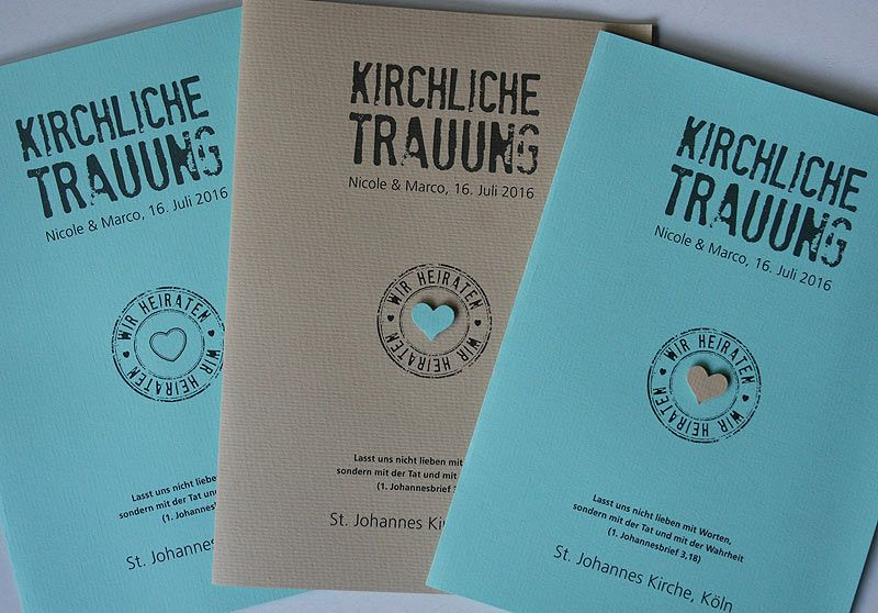 Kirchenheft FELINA Wedding Ceremony Program FELINA in mint creme