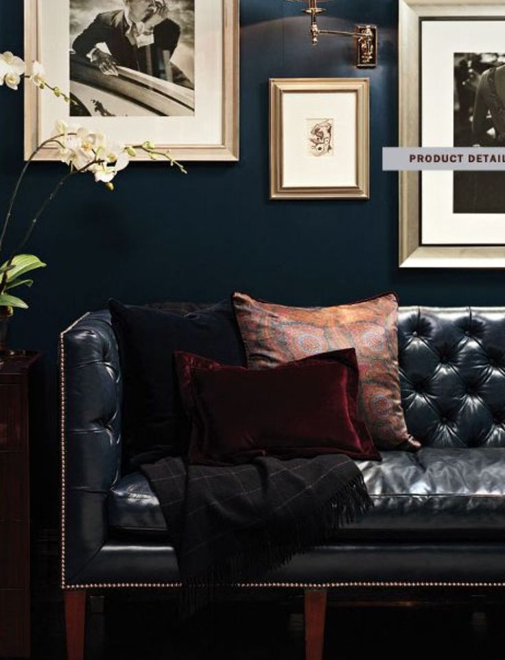 Inspired By Menswear Navy Walls Leather Chesterfield Sofa