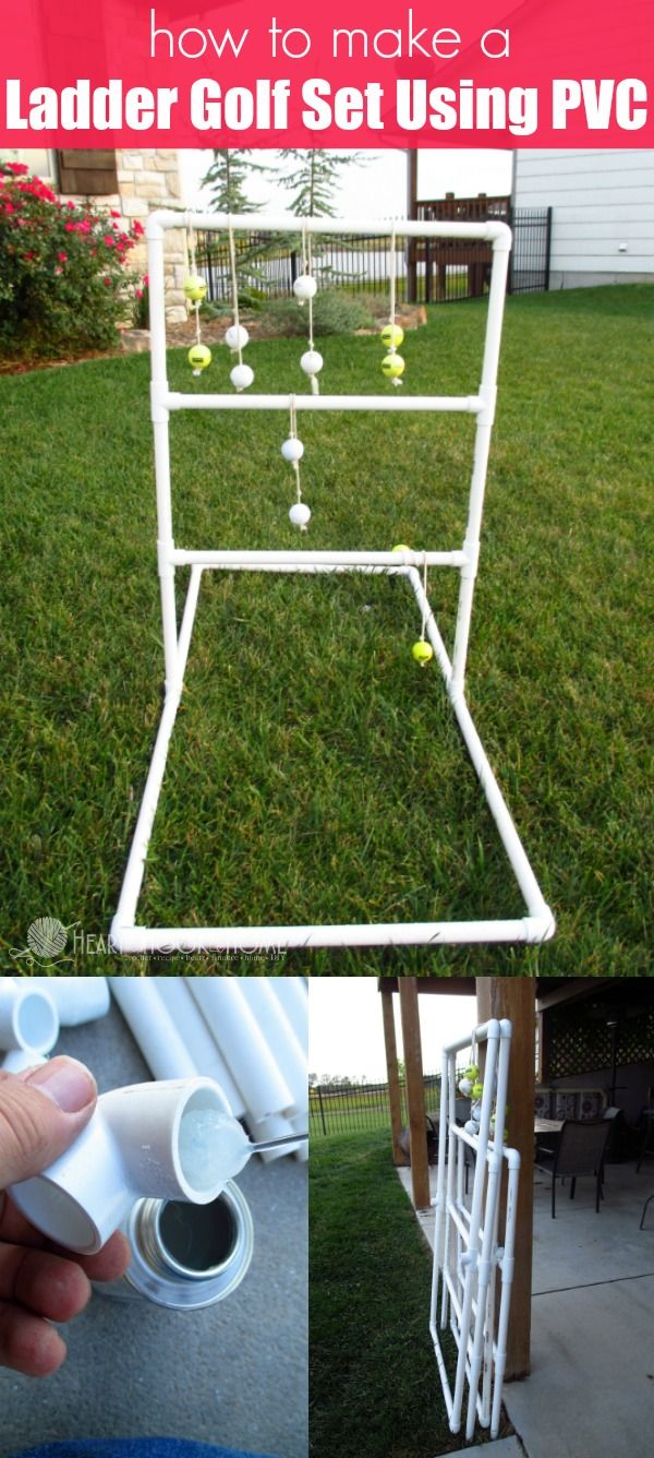 How To Make An Easy Ladder Golf Set Using Pvc Diy Yard Games Ladder Golf Pvc Projects