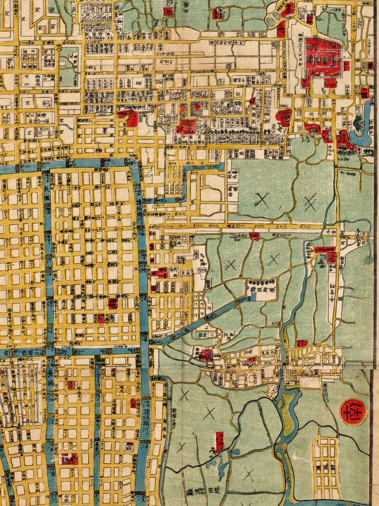 Detail 1863 Japanese map of Osaka National Treasure of Japan