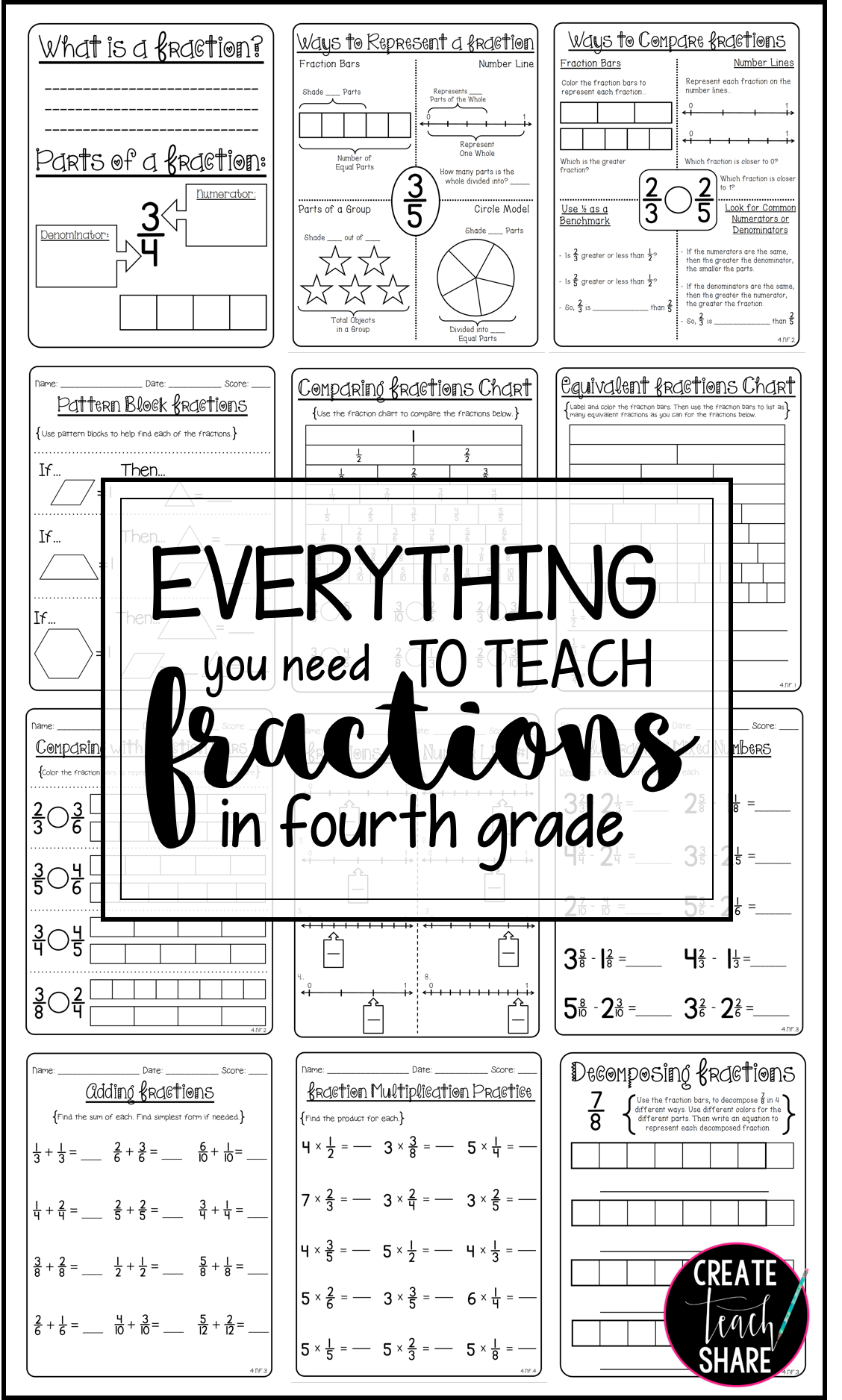 80 Pages To Help Teach Fractions In 4th Grade With
